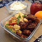 儿子的午餐便当之糖醋排骨配干锅花菜
