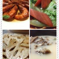 虾、青菜、藕、羊汤