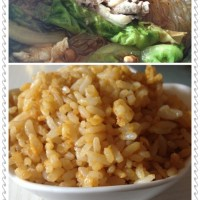羊肉酸辣粉丝+黄金炒饭
