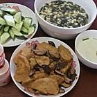香菇素鸡,紫菜蛋汤