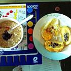 煎蛋,千层饼,粥配老干妈