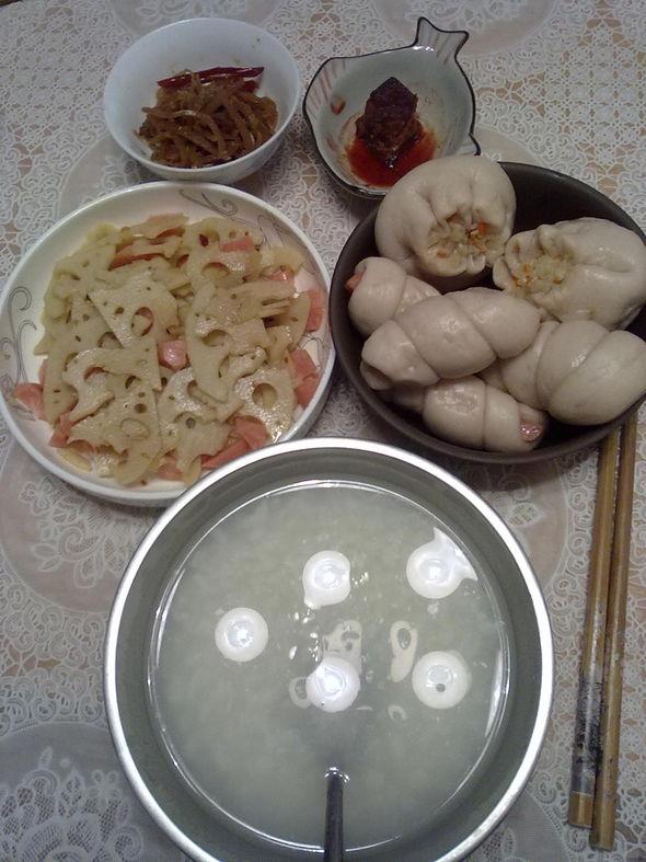 早餐——花样面食&糖醋藕&米粥
