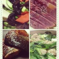 酱牛肉、煎青花鱼、木耳山药、青菜豆腐