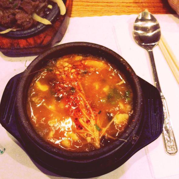 好袖珍的海鲜豆腐锅