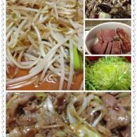 辣炒海瓜子、酱牛肉、拌苦苣、葱爆羊肉