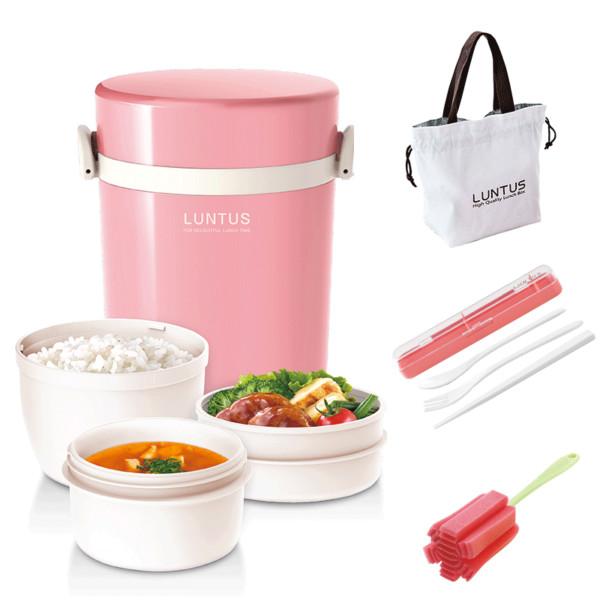 ASVEL日式三层保温便当饭盒/粉色700ml