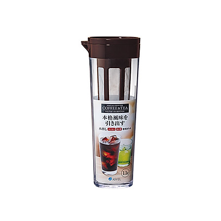 ASVEL 日本带茶滤冷水壶1.1L棕色+送杯刷