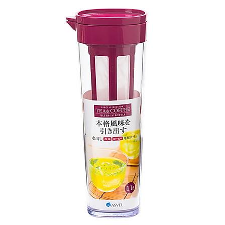 ASVEL 日本带茶滤冷水壶1.1L玫红色+送杯刷