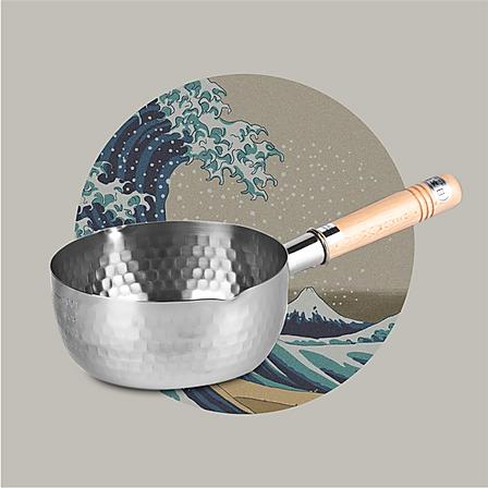日本原产YOSHIKAWA吉川雪平锅不锈钢锅木柄汤锅炉灶18cm